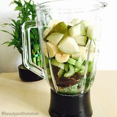 This is how my #green #smoothie looks before blending  Frozen spinach, dates, celery, bananas and pears