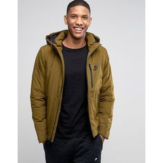 Nike Hooded Jacket In Green 810856-368 (€95) ❤ liked on Polyvore featuring men's fashion, men's clothing, men's outerwear, men's jackets, green, mens light weight jackets, tall mens jackets, nike mens jacket, mens hooded jackets and mens green jacket