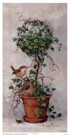 Spring Nesting II, Art Print by Barbara Mock Decoupage, Images Vintage, Pintura Country, Country Paintings, Little Birds, Tole Painting, Bird Art, Vintage Prints, Flower Art