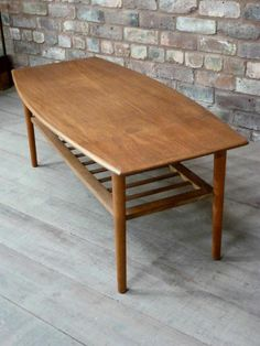 High end MID CENTURY teak coffee TABLE with magazine RACK-Parker/RETRO ERA