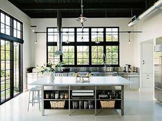 black ceiling industrial kitchen
