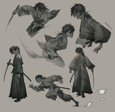 Rurouni Kenshin by Aric Athesis. Character Poses, Character Drawing, Character Illustration, Samurai Poses, Samurai Art, Drawing Reference Poses, Drawing Poses, Hand Reference, Drawing Tips