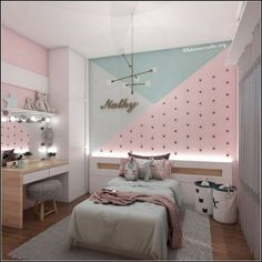cute and girly bedroom decorating tips for girl 14 3 Girl. cute and girly bedroom decorating tips for girl 14 3 Girl. Unusual Children Bedroom Decoration Ideas That Look Cool 40 bedroom ideas with the latest 2020 fashion trend budget for you 39 Cute Bedroom Ideas, Room Ideas Bedroom, Small Room Bedroom, Small Rooms, Cozy Bedroom, Girl Bedroom Walls, Girl Bedroom Designs, Childrens Room Decor, Baby Room Decor