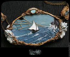 """Купить """"Mаrchа dоs Реsсаdоrеs"""" / """" Марш рыбаков"""" - голубой, бирюзовый, античное золото"""