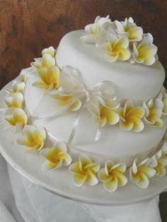 2 Tier Frangipani Cake