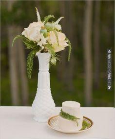 milk-glass flower arrangements and mini cake | CHECK OUT MORE IDEAS AT WEDDINGPINS.NET | #weddingcakes