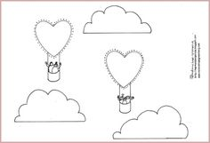 Heart balloon coloring page mobile to make.