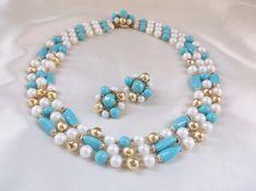 Vintage 1950s JAPAN Turquoise Pearl Gold Bead by MemawsTopDrawer, $30.00