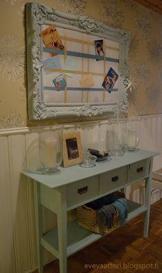 DIY Ikean sivupöytä muutettuna. Maalaten ja lisäten itsetehdyt laatikot vanhoilla vetimillä. Ikea, Table, Diy, Furniture, Home Decor, Decoration Home, Ikea Co, Bricolage, Room Decor