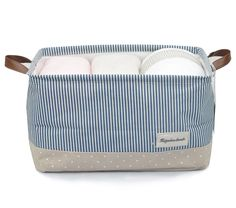 Organizing Baskets for Clothing Storage - Storage Baskets Made From Eco-friendly Cotton. Works As Fabric Drawer, Baby Storage, Toy Storage. High Quality Nursery Baskets Fit Most Shelves (Navy Blue, L)