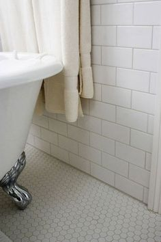 White Hexagon Bathroom Floor Tile With Grey Grout Home Interior