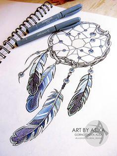 Dreamcatcher. Tattoo sketch, dotwork on Adweek Talent Gallery
