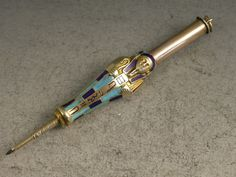 Silver Gilt & Enamel Egyptian Mummy Novelty Telescopic Propelling Pencil, c1920
