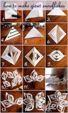 How To Make Giant Paper Snowflakes: Step By Step Photo Tutorial . How to Make Giant Paper Snowflakes: Step by Step Photo Tutorial diy winter paper crafts - Diy Paper Crafts Kids Crafts, Christmas Crafts For Kids, Diy Christmas Ornaments, Christmas Fun, Holiday Crafts, Diy And Crafts, Craft Projects, Arts And Crafts, Frozen Christmas