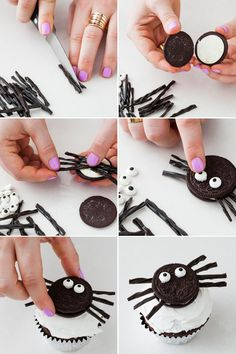 Use Oreos and black licorice to make spider cupcakes.