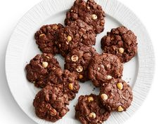 Triple Chocolate-Hazelnut Cookies recipe from Food Network Kitchen via Food Network Chocolate Hazelnut Cookies, Decadent Chocolate, Chocolate Desserts, Chocolate Chips, Baking Chocolate, Chocolate Lovers, White Chocolate, Chocolate Cake, Cookie Desserts