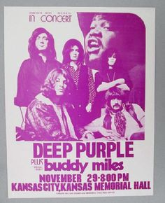 Original concert handbill for Deep Purple and Buddy Miles in Kansas City from 1972. 8.5 x 11 on thin paper. Light handling marks.