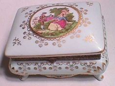 Decorated Porcelain JEWELRY TRINKET Box Ceramic Footed Gold Paint Accents on Etsy, $44.99