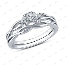 Round Cut Sim.Diamond Criss Cross 14k White Gold Plated in 925 Silver Bridal Set #Affoin8