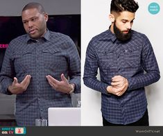Andre's checked shirt on Black-ish.  Outfit Details: http://wornontv.net/48523/ #Blackish