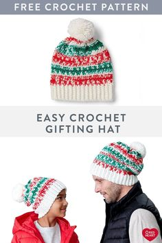 Easy Crochet Gifting Hat free crochet pattern in Super Saver Fair Isle. - New Free Patterns Crochet Gifts, Free Crochet, Knit Crochet, Crochet Afghans, Easy Crochet Patterns, Hat Patterns, Crochet Ideas, Childrens Crochet Hats, Crochet Christmas Hats