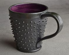 Spiky Mug Made To Order Gun Metal Black and by symmetricalpottery