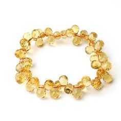 O-stone 3A Natural Citrine Raindrop Facets Bracelet A6mm Grounding Stone Protection - Rellek Jewelry