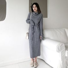 Beautiful High Neck Sweater Long Dress Women Lace Up Knitted Full Sleeve women's winter dresses from top store Off Shoulder Dresses, Lace Sweater, Knit Dress, Turtleneck Dress, Long Sweaters, Knitwear, Golf, Turtle Neck, Clothes For Women