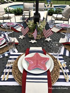 Outdoor Table Decor, Patio Table, A Table, Fourth Of July Decor, 4th Of July Decorations, July 4th, Summer Centerpieces, Patriotic Party, Tablescapes