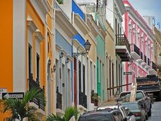 Pink and orange and bright blue, just as natural as can be. San Juan Puerto Rico