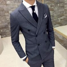 new British style double-breasted Slim thin black male casual gray double-breasted suit coat