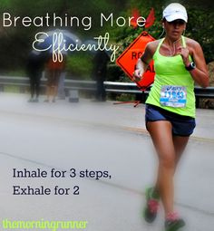 Breathing Efficiently  This is how i do it. It is also better for your knees. When you exhale you land harder on that foot. So if you rotate which foot you start the exhale then it is equal pressure on your knees.  In-2-3 out-2 in 2-3. Out-2. That is the pattern.