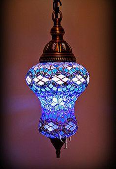 Blue mosaic glass hanging lantern