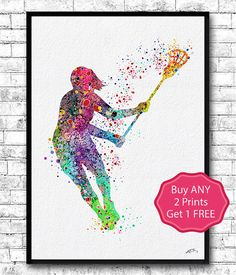 Lacrosse Girl Player Sports Art Print Watercolor by ArtsPrint