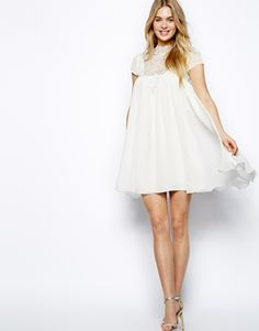 Image 4 ofLydia Bright Cap Sleeve Swing Dress With Lace Neck