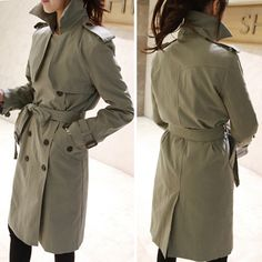 Fashion Solid Color Double-breasted Long Sleeve Trench Coat