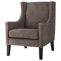 Jackson Upholstered Wingback Chair - Gray velvet with Nailheads