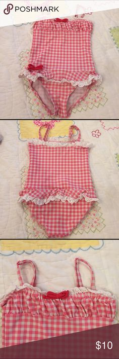 Pumpkin Patch swimsuit EUC no flaws. Pumpkin Patch from Nordstrom swimsuit with adjustable straps. Sweet pink and white gingham print with eyelet trim. pumpkin patch Swim One Piece