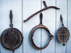 Antique Waffle Maker - Rustic Kitchen Decor - Western Home Decor - Cowboy - Prop - Antique Waffle Make - Cast Iron  #8-21 by RusticSpoonful on Etsy