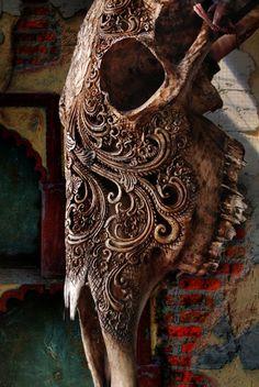 Bone carvings in Indonesia.