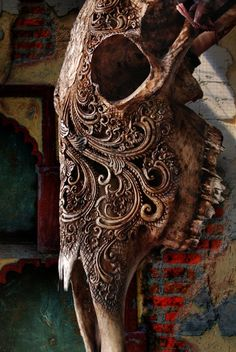Bone carvings in Indonesia.