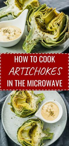 Here's a fast recipe on how to cook an artichoke in the microwave! Includes microwave cooking times depending on the number of artichokes, recipe for a delicious dipping sauce, and instructions on how to select, prepare, and eat artichokes. Microwave Recipes, Cooking Recipes, Healthy Recipes, Dip Recipes, Cooking Ribs, Cooking Bacon, Cooking Ideas, Easy Recipes, Keto Recipes