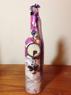 Decorated wine bottle on Etsy, $30.00