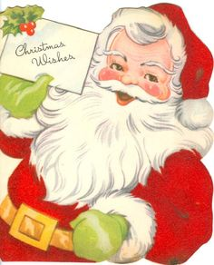 Red Felt Santa Christmas Wishes Christmas Card A-Meri-card Vintage Christmas Images, Retro Christmas, Christmas Pictures, Victorian Christmas, Santa Christmas, Christmas Wishes, Christmas Sprinkles, Christmas Mantles, Christmas Villages