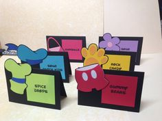 Bright colored Mickey Mouse Clubhouse food/buffet labels