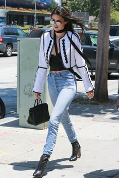 Kendall Jenner wearing Hermes Birkin Bag, Elizabeth and James Watts Sunglasses in Black/Silver Mirror Lens, Anine Bing Lace Bralette, Are You I Am Isolde Scarf and Andrew GN Spring 2016