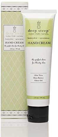 I like this hand cream.  It soaks in quickly and smells so refreshing in the honeydew-spearmint flavor.  I have this at work and I don't have to worry about getting lotion all over my keyboard and mouse.