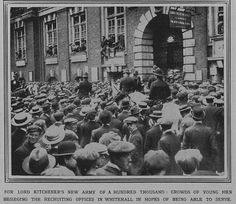 1914 - 1st World war - Highlights of The first week in the Illustrated London News - For Lord Kitchener's new army young men beseiging the recruiting office in London