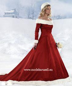 Winter Brautkleid in Rot Weiss  www.modekarusell.eu