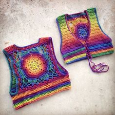 CUSTOM Luna Mandala chaleco 100% lana arco iris chaleco